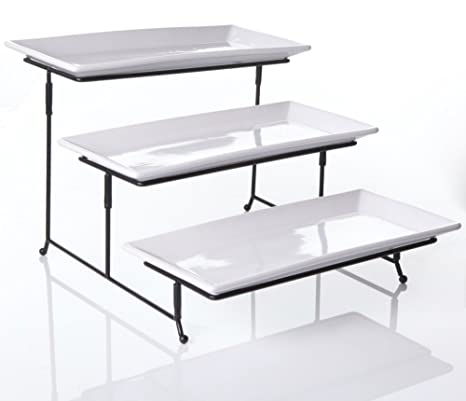 3 Tier Collapsible Thicker Sturdier Plate Rack Stand With Plates - Three Tiered Cake Serving Tray  sc 1 st  Amazon.com & Amazon.com | 3 Tier Collapsible Thicker Sturdier Plate Rack Stand ...