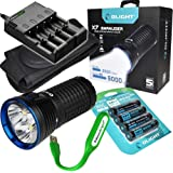 Rechargeable Bundle: Olight X7 Marauder 9000 Lumens XHP 70 LED flashlight with 4 X 3500mAh 18650 Rechargeable Batteries, charger and EdisonBright brand USB reading light