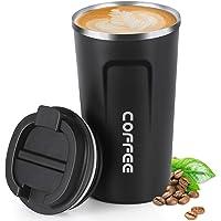 18 oz (510 ml) vakuumisolerad resmugg, smilatte läckagesäker dubbelvägg rostfritt stål återanvändbar kaffekopp med lock…