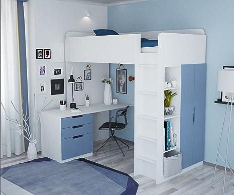 IKEA Polini Home - Cama alta con armario y escritorio, color ...