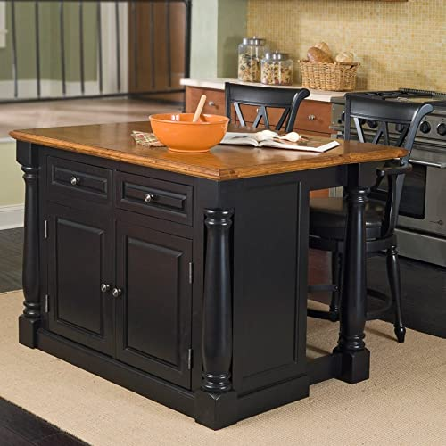 Monarch Black Distressed Oak Kitchen Island with 2 Stools by Home Styles