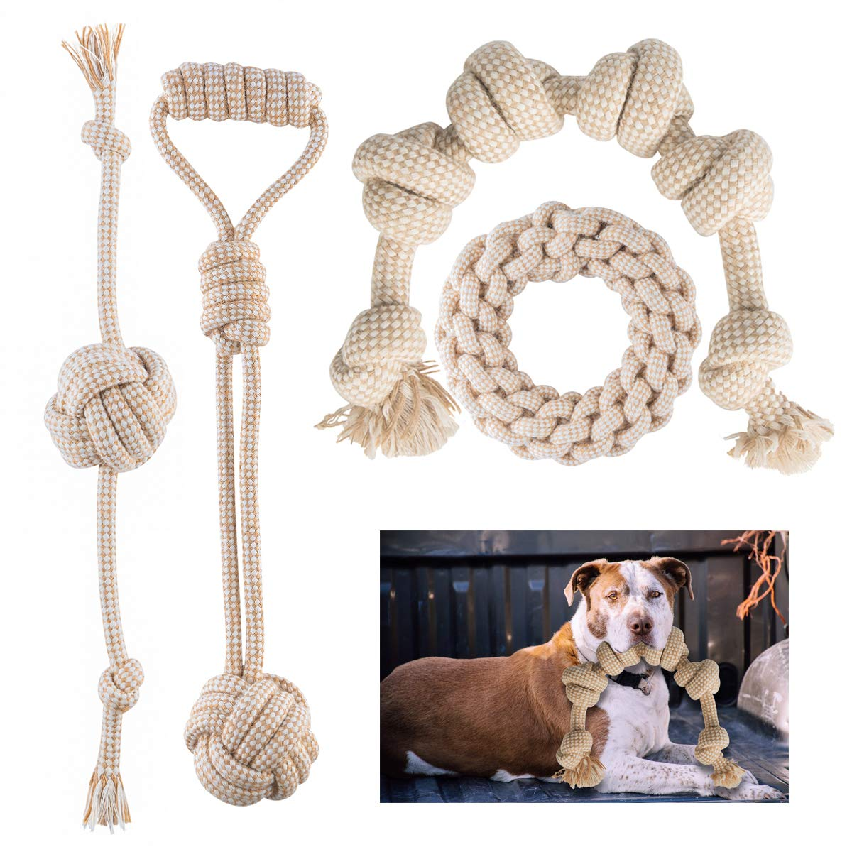 FONPOO Dog Toys for Aggressive Chewers, Natural Cotton Rope Meet Dog Chewers Relieve Dog Boredom Dog Toy Pack of 4 by FONPOO