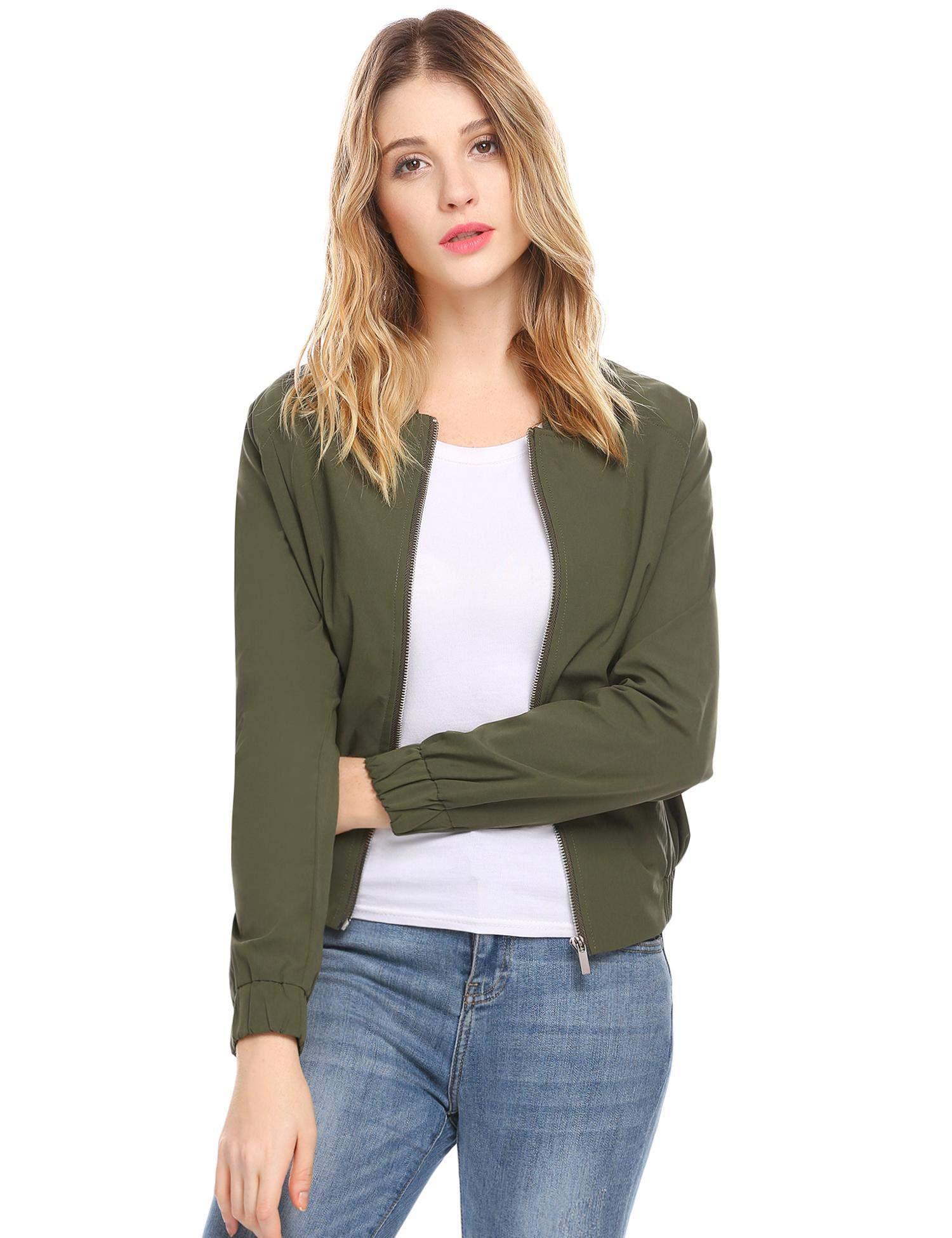 Zeagoo Womens Fashion Casual Collarless Long Sleeve Windbreaker Lightweight Zip Up Jacket Coat