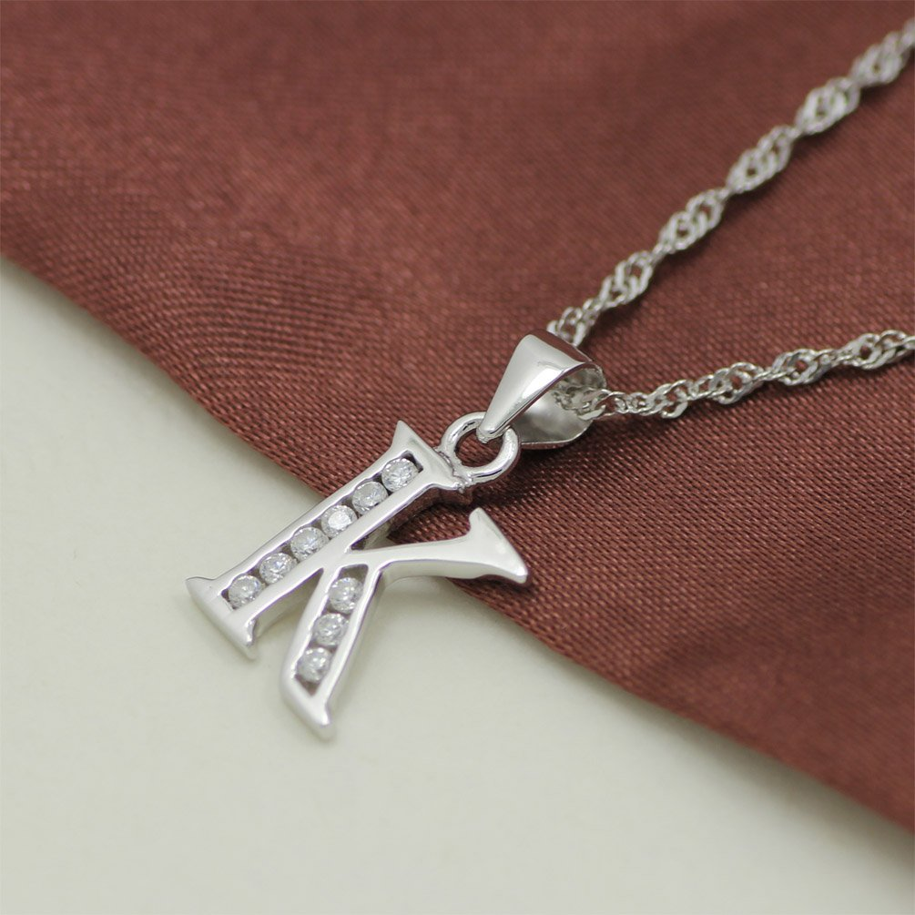 Chaomingzhen Sterling Silver Rhodium Plated Cubic Zirconia Alphabet Initial Letter K Pendant Necklace