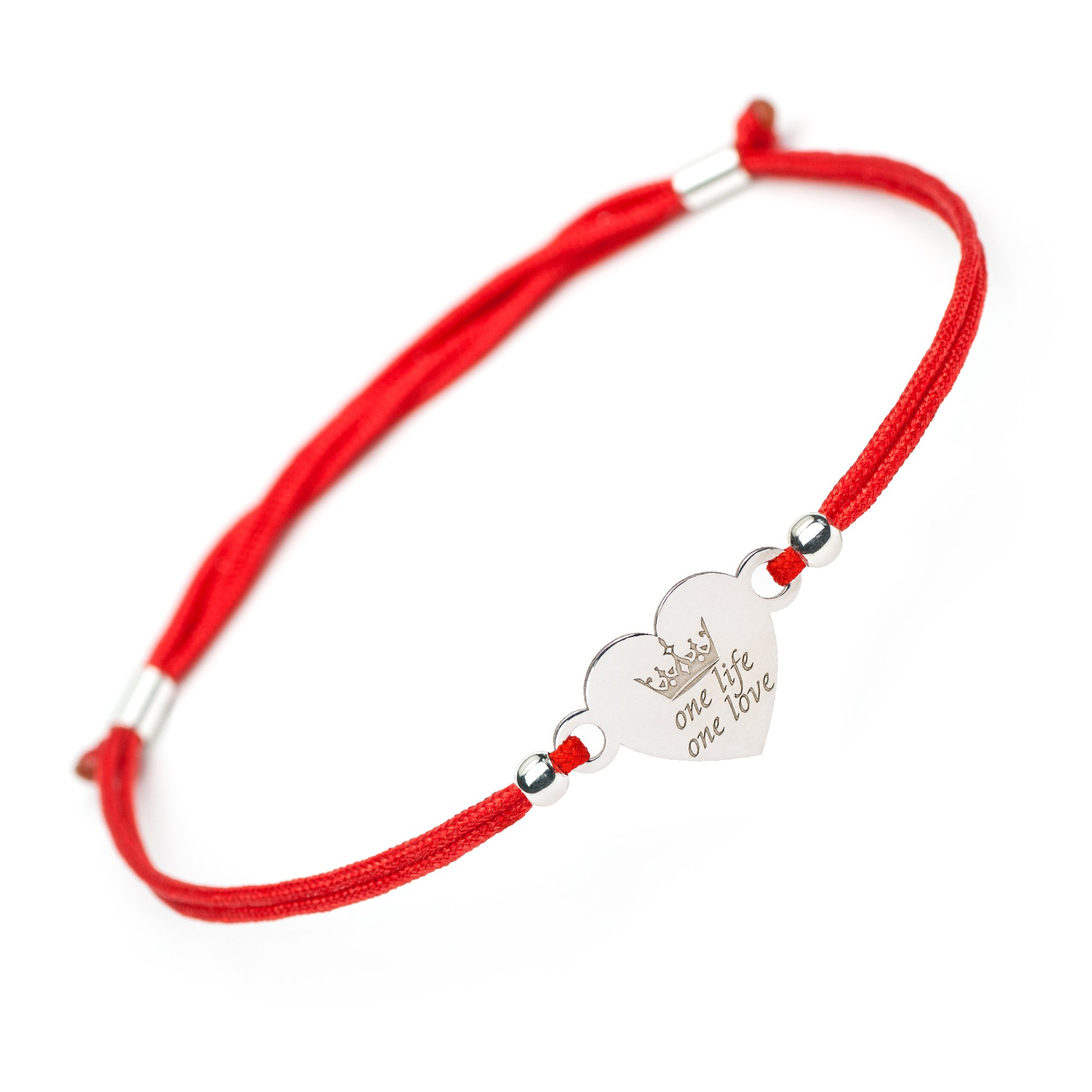 Handmade Friendship Inspirational Love Bracelet - 1Life 1Love Crown Heart Sterling Silver Charm - Red String Evil Eye Protection Matching Couple Believe Gift Bracelets for Girls Women Sister Daughter