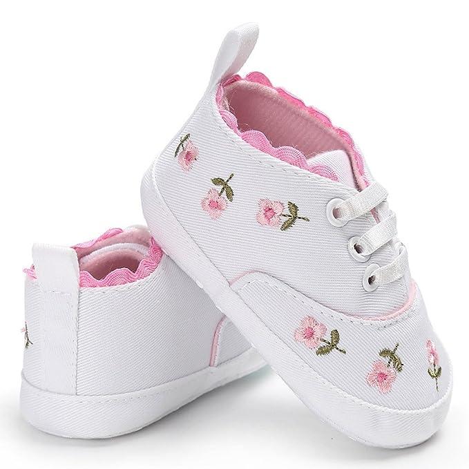 YanHoo Zapatos para niños Zapatos de bebé Florales Zapatos Infantiles de Cuna para bebés recién Nacidos con Motivos Florales Zapatillas Antideslizantes de ...