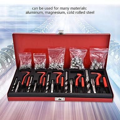 LARS360 131 pezzi Filettatura Kit di riparazione punta per trapano Sleeves Helicoil auto Motor M5 M6 M8 M10 M12 filettatura attrezzi Kit