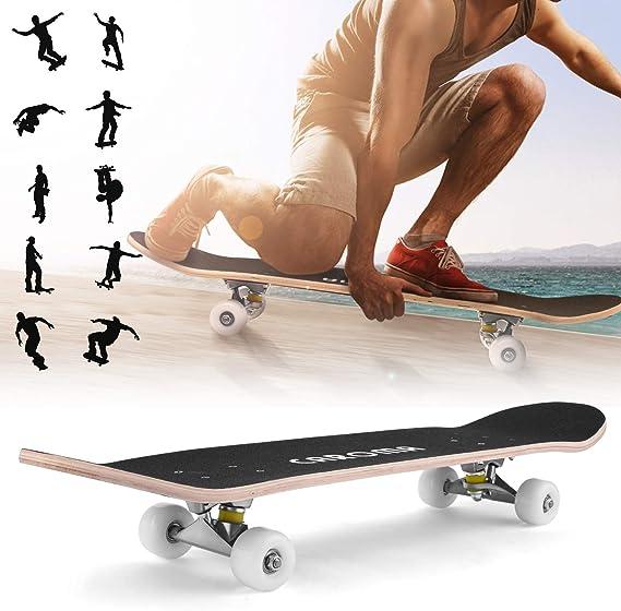 Maple Deck Pro Skateboard complet double coup de pied concave avec roues en PU antichocs pour enfants gar/çons et filles adultes 9 couches 78,7 cm CAROMA Skateboard pour d/ébutants