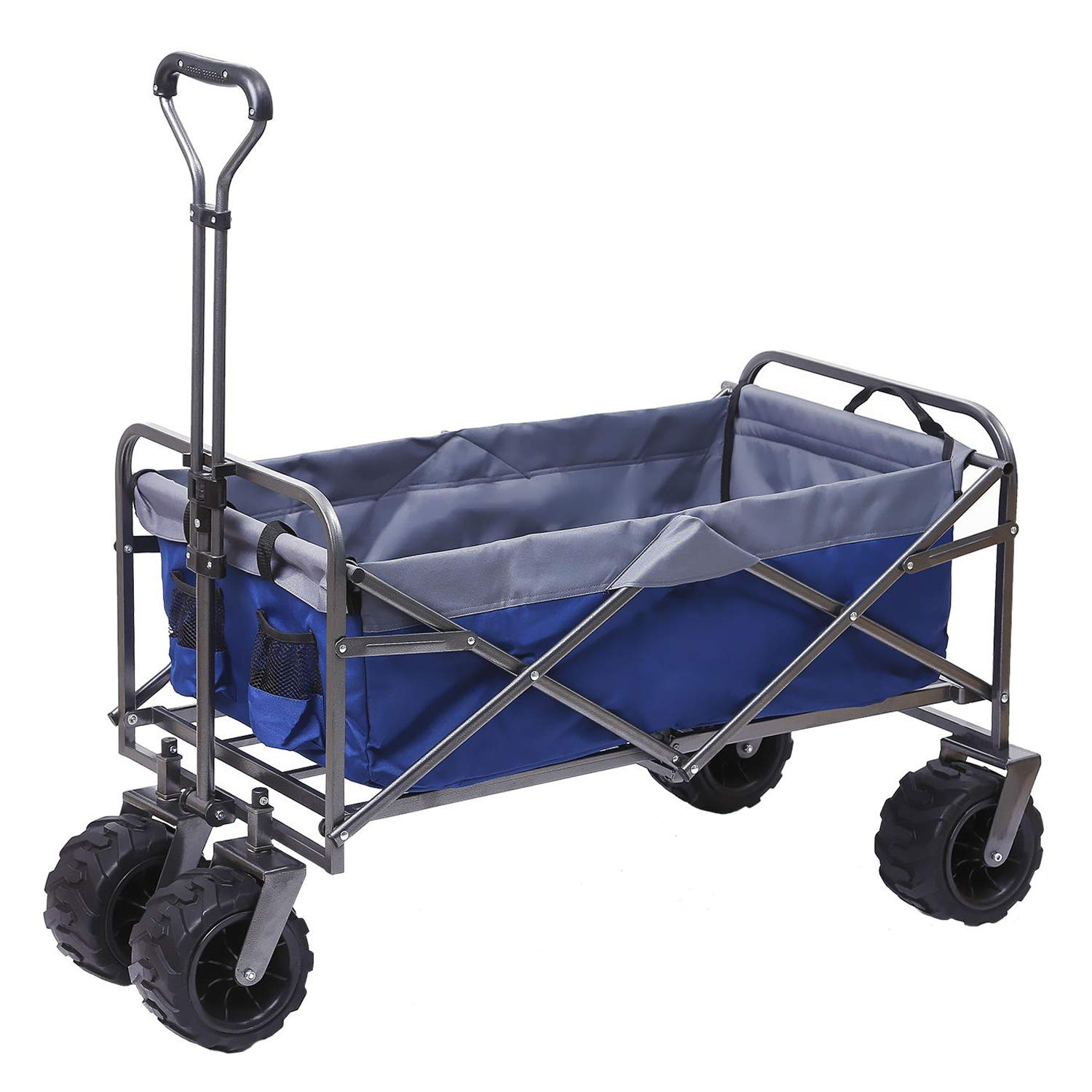 ARTPUCH Folding Wagon All-Terrain Collapsible Utility Garden Cart Heavy Duty for Shopping and Outdoor Activities, Big Wheels Navy