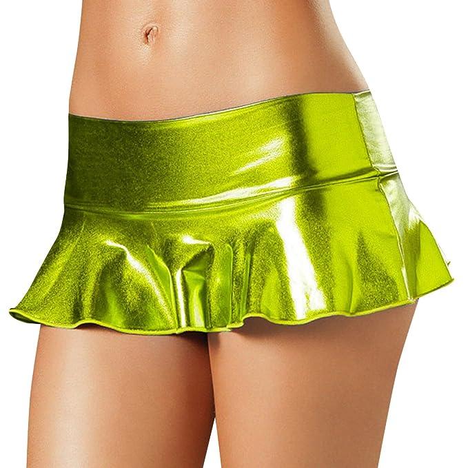 37008677b IWEMEK Women's Shiny Wet Look Bodycon Pleated Flared Short Mini Skirt  Clubwear: Amazon.ca: Clothing & Accessories