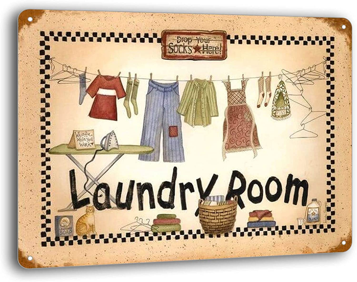 BAYABU Metal Signs Retro Laundry Room Room Wall Plaques Plate Tin Sign Home Decor 16 x 12 inches