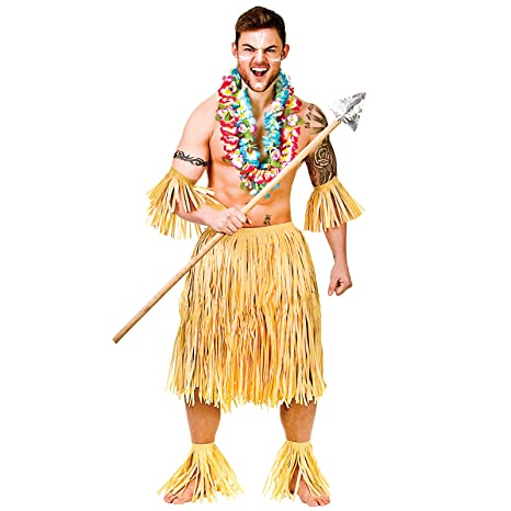 Hawaiian Party Guy/Zulu Warrior 5 Piece Raffia Set - Adult Costume