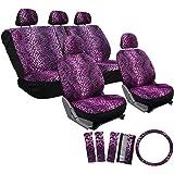 OxGord 17pc Set Leopard Animal Print Auto Seat Covers Set - Front Low Back Buckets - Rear Split Bench - Purple