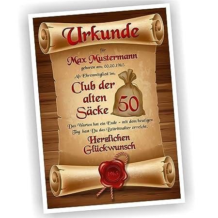 Play Too Geburtstagsurkunde 30 40 50 60 Club Der Alten Sacke Bild