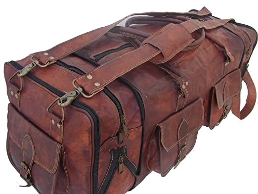 22a686f9f8 Image Unavailable. Image not available for. Color  Handmade Vintage  30 quot  Men s Leather Duffle Travel Bag Sporty Overnight Gym Bag