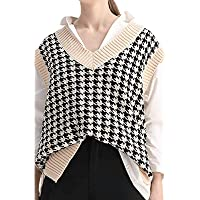 Geagodelia Houndstooth - Jersey sin mangas para mujer, diseño escocés, para otoño e invierno, cuello en V, elegante