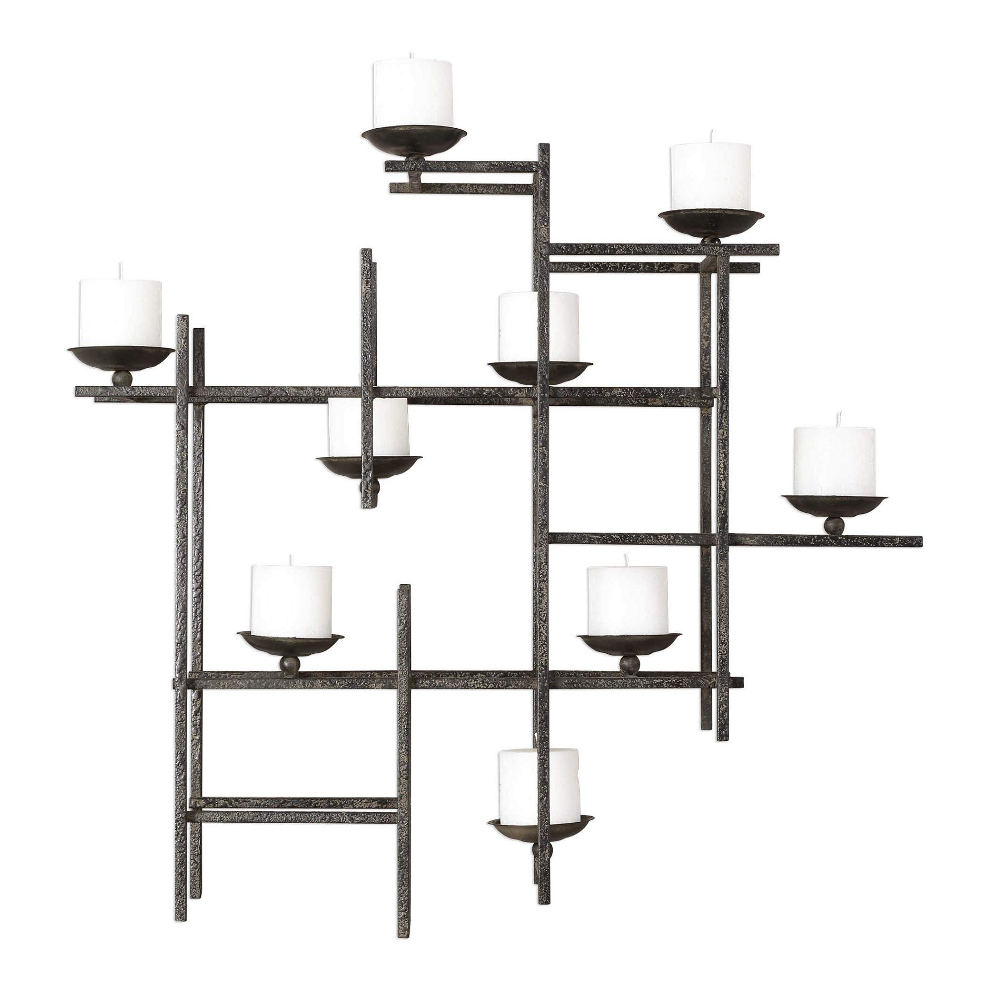 """Diva At Home 29"""" Black Crosshatched 3-Dimensional Candle Iron Wall Sconce"""