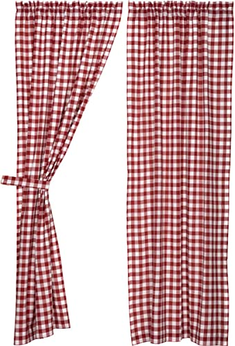 VHC Brands Classic Country Farmhouse Window Buffalo Check Red Curtain Panel Pair