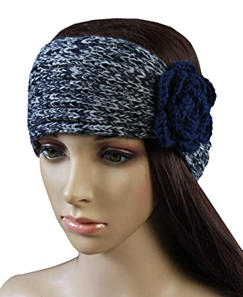 Womens Winter Crochet Headband Double Color Mixture Yarn Knit Hair