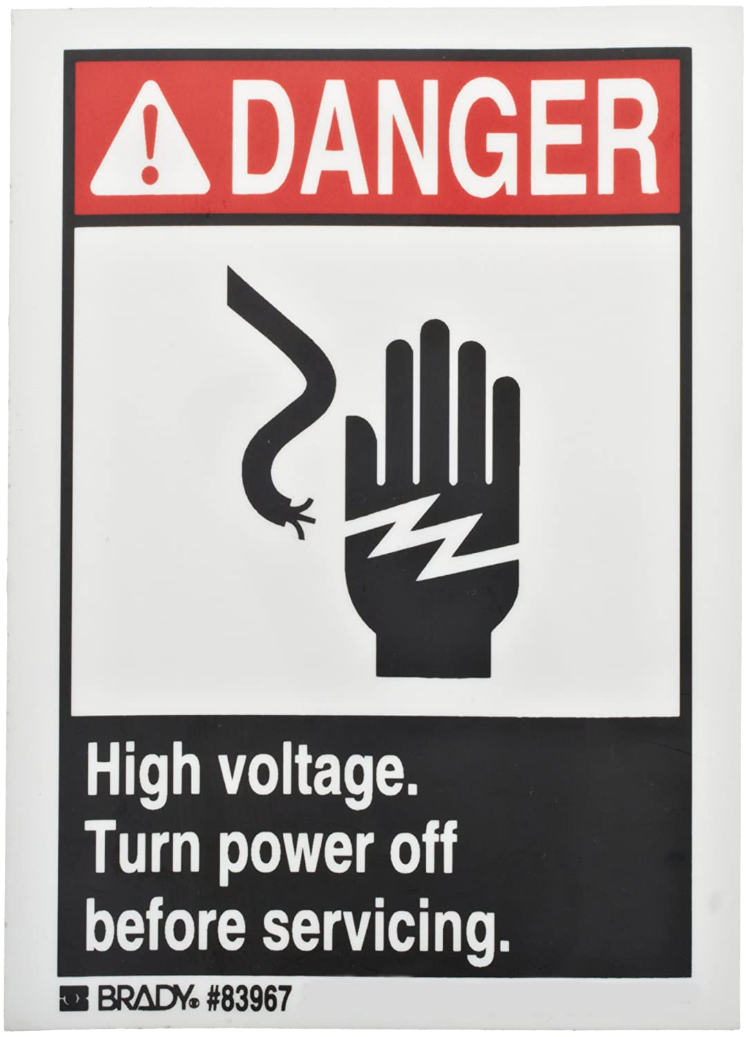 Red and Black on White 5 Width Brady Corp Brady 83967 High Voltage Sign 3-1//2 Height 5 Width