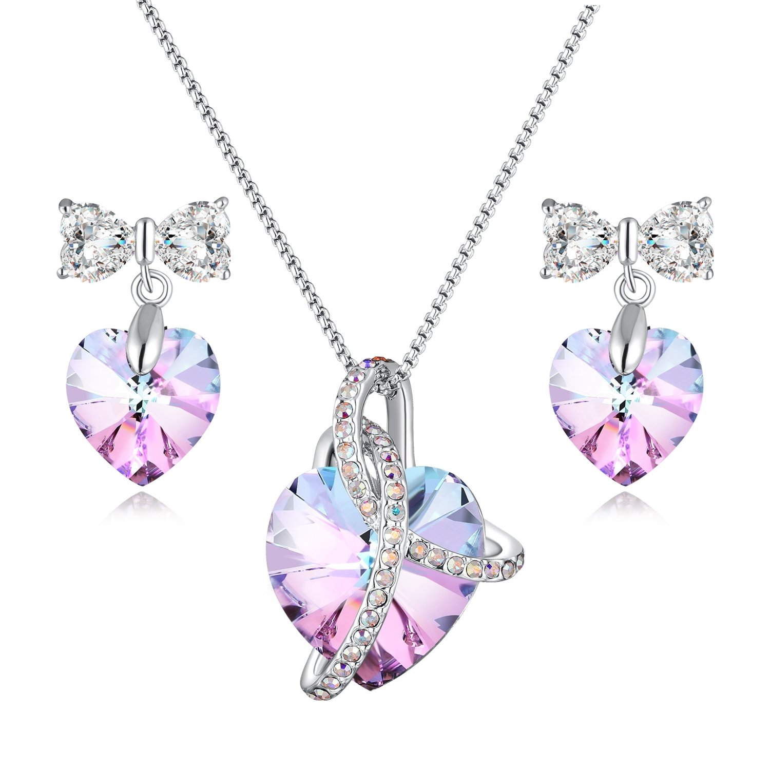 Jewelry Set For Mom Heart Pendant Necklace & Earrings Jewelry Set with Swarovski Crystals 3 Different Purple Crystal Jewelry Set Style