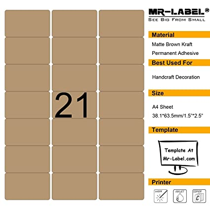 Amazon.com : Mr-Label Blank Brown Kraft Labels - 63.5x38.1mm - For ...