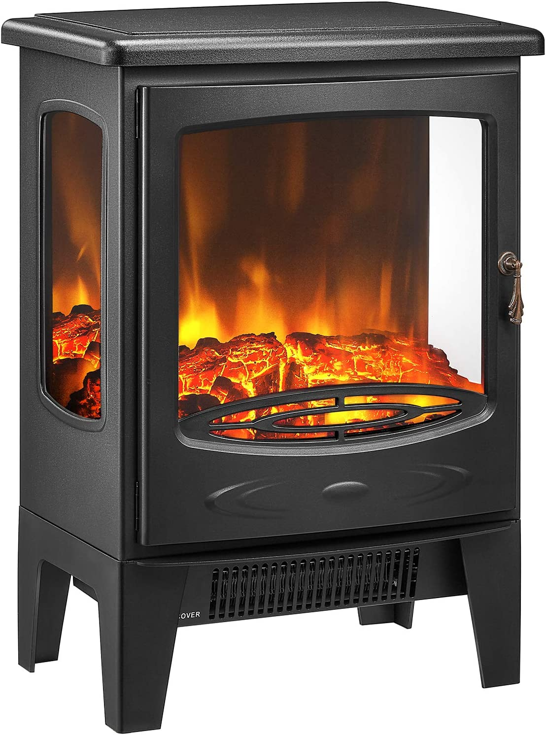 kealive Electric Fireplace 1500W Powerful Stove Heater Freestanding Electric Stove 3D Realistic Log Flame Electric Heater, Glass Sides and Sturdy Metal Legs
