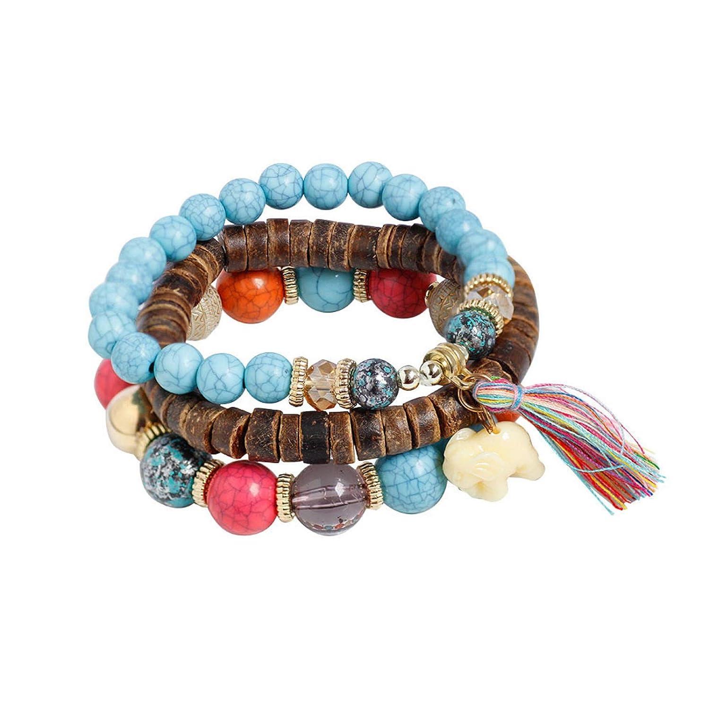 Leedford 3 Pcs Women Multi-Layer Gem Bracelets Jewelry Set Colorful Bead Stackable Cuff Bracelet Set Bangle Boho Beach Jewelry