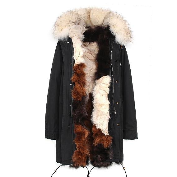 S.ROMZA Abrigo de Piel de Zorro Real Fox Mujer con Capucha Real Parka de