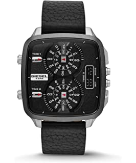 Diesel Hal Leather Analog-Digital Mens Watch - Black
