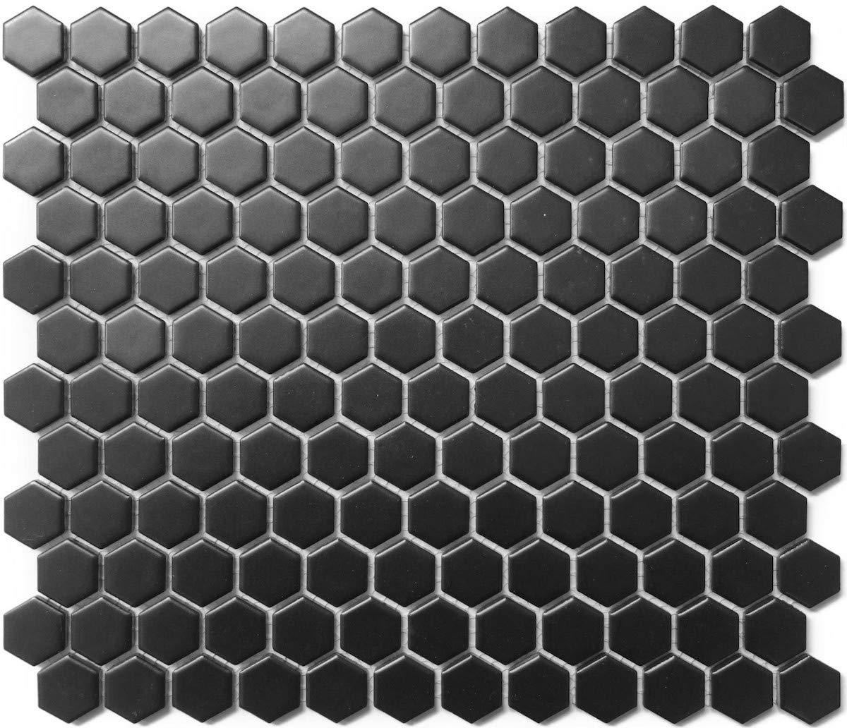 1 Carton/10 SQFT | Black 1'' Hexagon Mosaic Tile (Matte) by Thomas Avenue Ceramics
