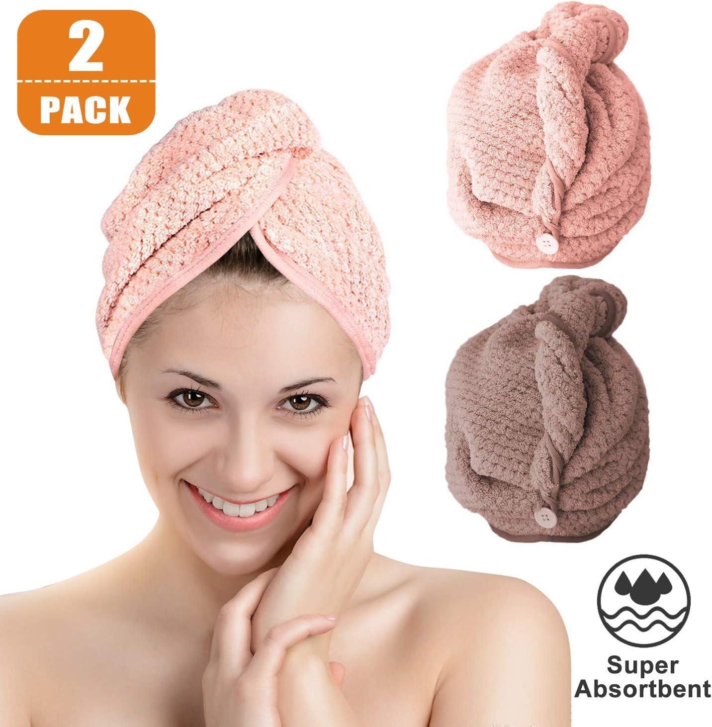 Frottee Haar Turban Microfaser Kopfhandtuch Kopftuch Handtuc