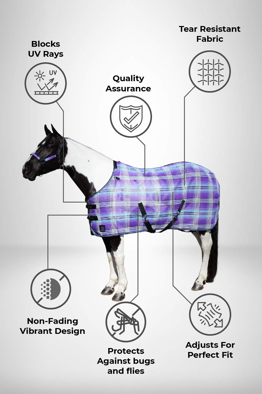 Kensington Platinum SureFit Protective Fly Sheet for Horses - SureFit Cut with Snap Front Chest Closure - Made of Grooming Mesh This Sheet Offers Maximum Protection Year Round - 75'' Lavender Mint by Kensington Protective Products (Image #2)