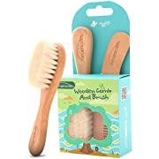 Baby Goat Hair Brush and Comb Set for Newborns & Toddlers | Eco-Friendly Safe Brush | Natural Wooden Comb | Soft Bristles for Cradle Cap | Perfect Baby Shower and Registry Gift