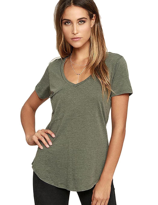 Barmy Green Bifast Women Sexy Deep VNeck Low Cut TShirt Short Sleeve Solid color Summer Loose Casual Tee SXXL