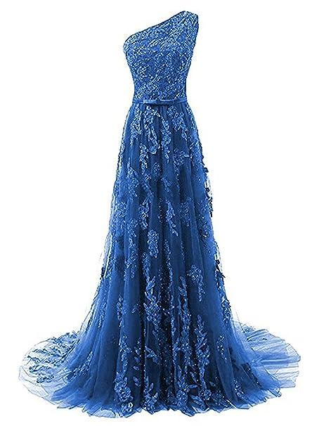 JAEDEN Vestido de Fiesta Largo Vestido de Noche A línea Vestido de Novia Un Hombro Encaje