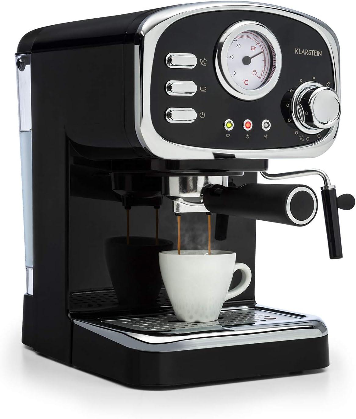 Klarstein Espressionata Gusto - Cafetera espresso, 1100 W de potencia, Presión de 15 bares, Depósito de agua de 1,25 litros, Boquilla de vapor, Termómetro, Bandeja de goteo extraíble, Negro