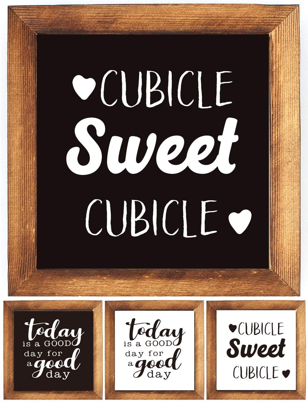 KU-DaYi Wood Framed Block Sign -Today is A Good Day for A Good Day, Cubicle Sweet Cubicle, Funny Inspirational Rustic Farmhouse Wooden Wood Framed Wall Hanging Sign Art Decor