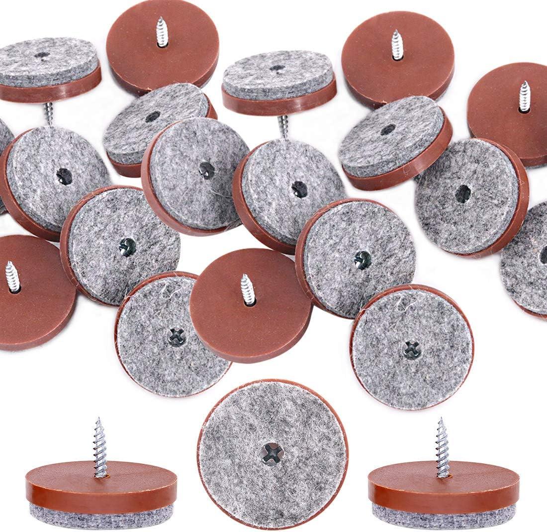 Glarks 20Pcs 38mm Brown Screw-on Furniture Antiskid Felt Pad Slider Floor Protector for Wooden Leg Feet of Chair Table Sofa Stool (20Pcs 38MM)
