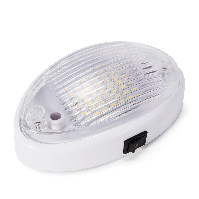 Kohree Plafonnier LED 12V 24X5050SMD Pour Camping-car Voiture Bateau 3.6W Blanc Nature