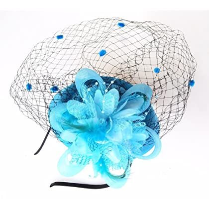 7c4f3a7f8b9 ... Coolwife Fascinator Hats Pillbox Hat British Bowler Hat Flower Veil  Wedding Hat Tea Party Hat ...