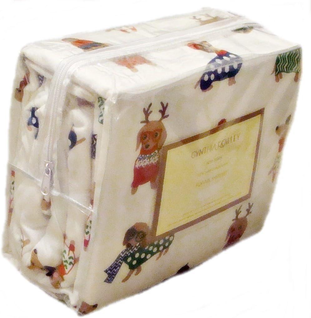 Cynthia Rowley Christmas Dachshund Weiner Dog Twin or Full Size Flannel Sheet Set (Twin)