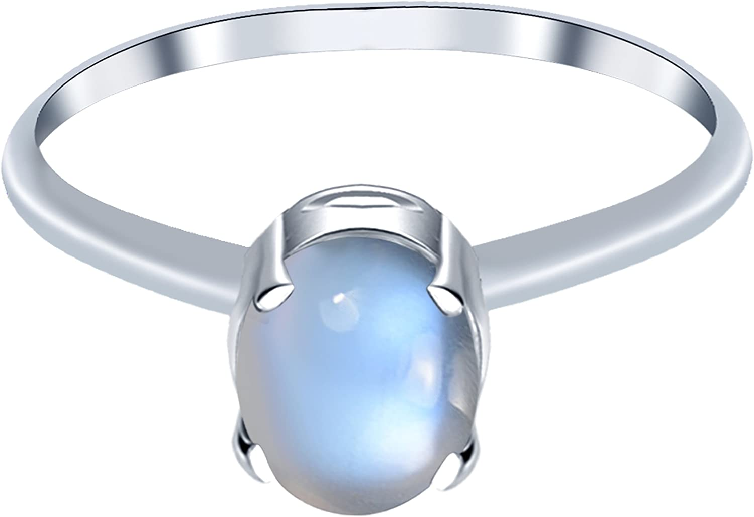 Natural June Birthstone Gemstone Rings 925 Sterling Silver Solitaire Ring For Girls Orchid Jewelry 1.10 Ctw 7x5mm Oval Grey Moonstone Ring For Women A Simple and Beautiful Birthday Gift For Wife