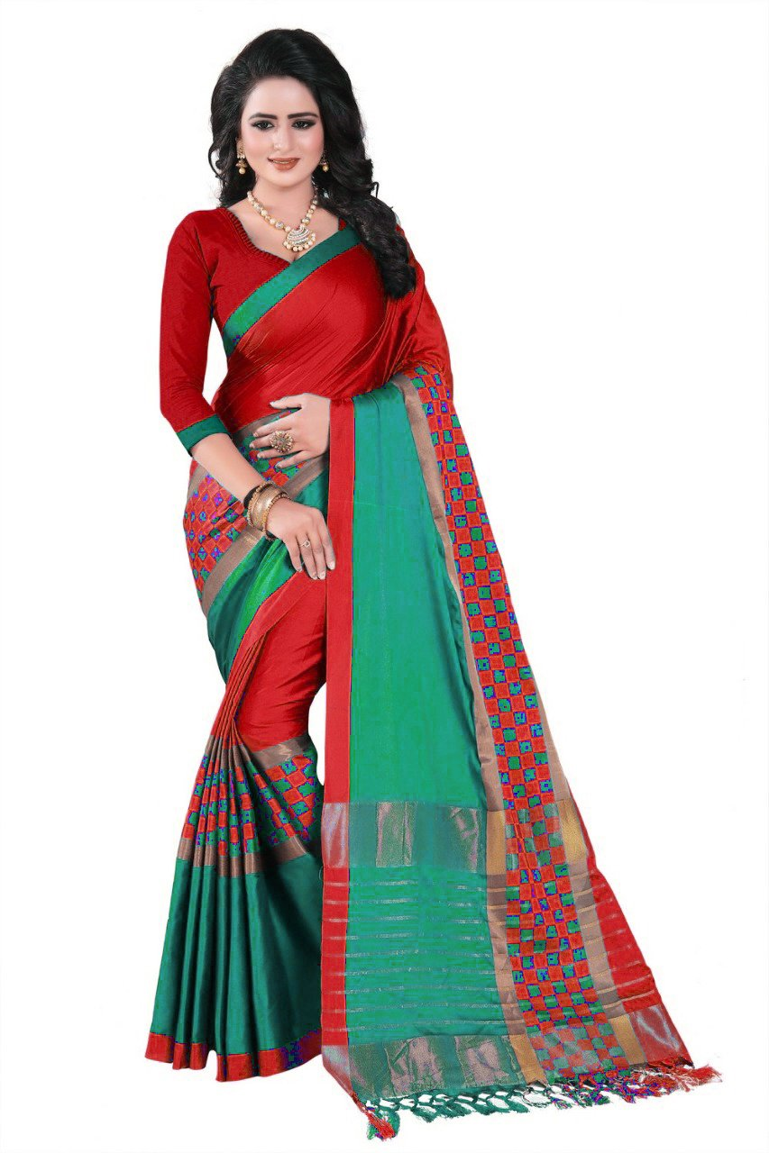 Mohit Creations Designer Multi Colored Printed Cotton Silk Saree for Womens with Unstitched Blouse