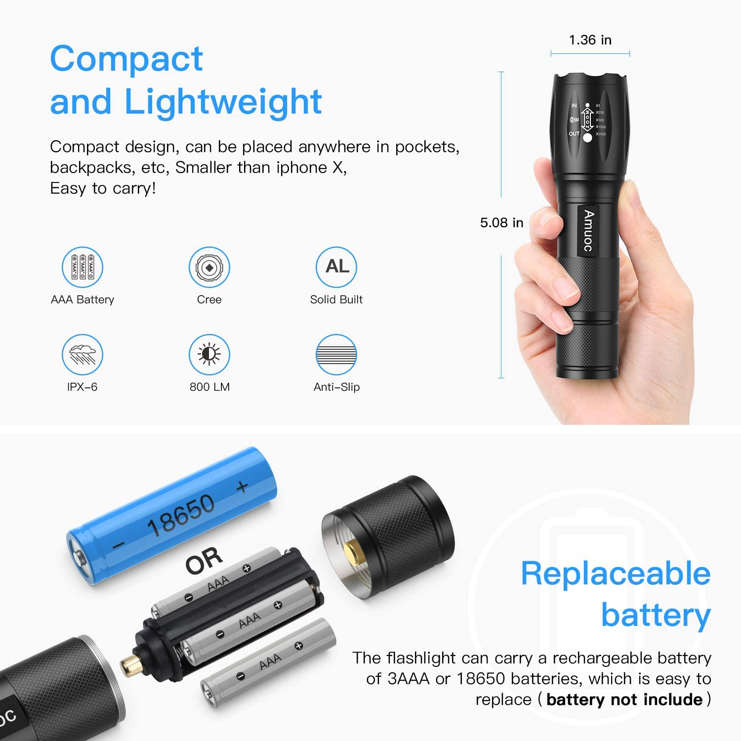 Handheld Light Water Resistant High Lumen 12 Modes Flashlights LED Tactical Flashlight S1000 Zoomable Black Batteries Not Included Best Camping//Outdoor//Hiking//Flashlights//Gift-Giving