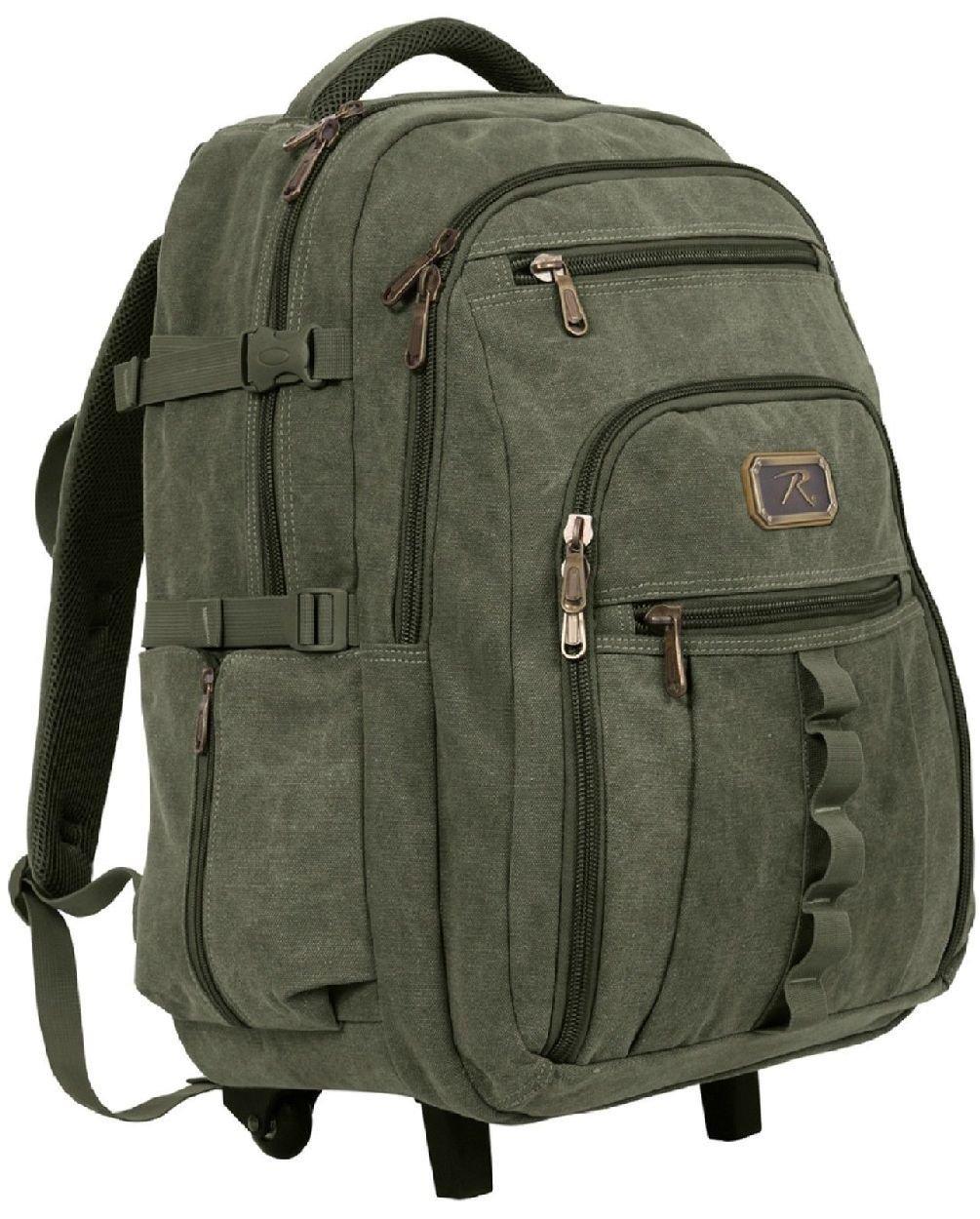 Rolling Canvas Backpack - Versatile 23'' Wheeled Bag W/ Push Handle