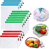 Bolsas Reutilizables Compra, Vagalbox Unidades Ecológicas Bolsa de Malla, para Almacenamiento Frutas/Verduras, Juguetes, Lava