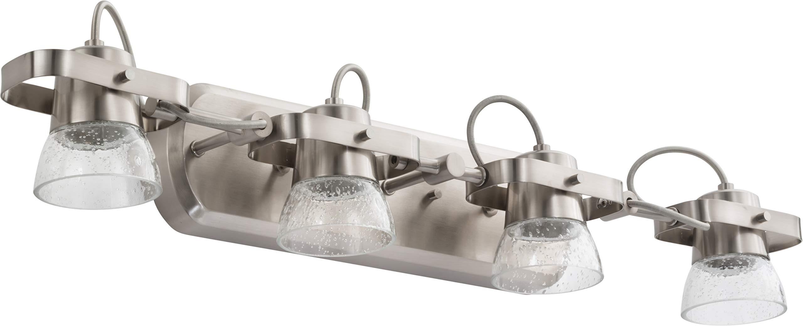 Lithonia Lighting LTFSGL4 27K 90CRI BN M4 4-Light LED Linear Seeded Glass Fixed Track Kit, 2700K, Brushed Nickel