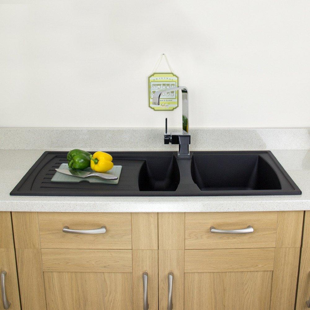 Astini Arturo 1.5 Bowl Black Composite Synthetic Kitchen Sink ...