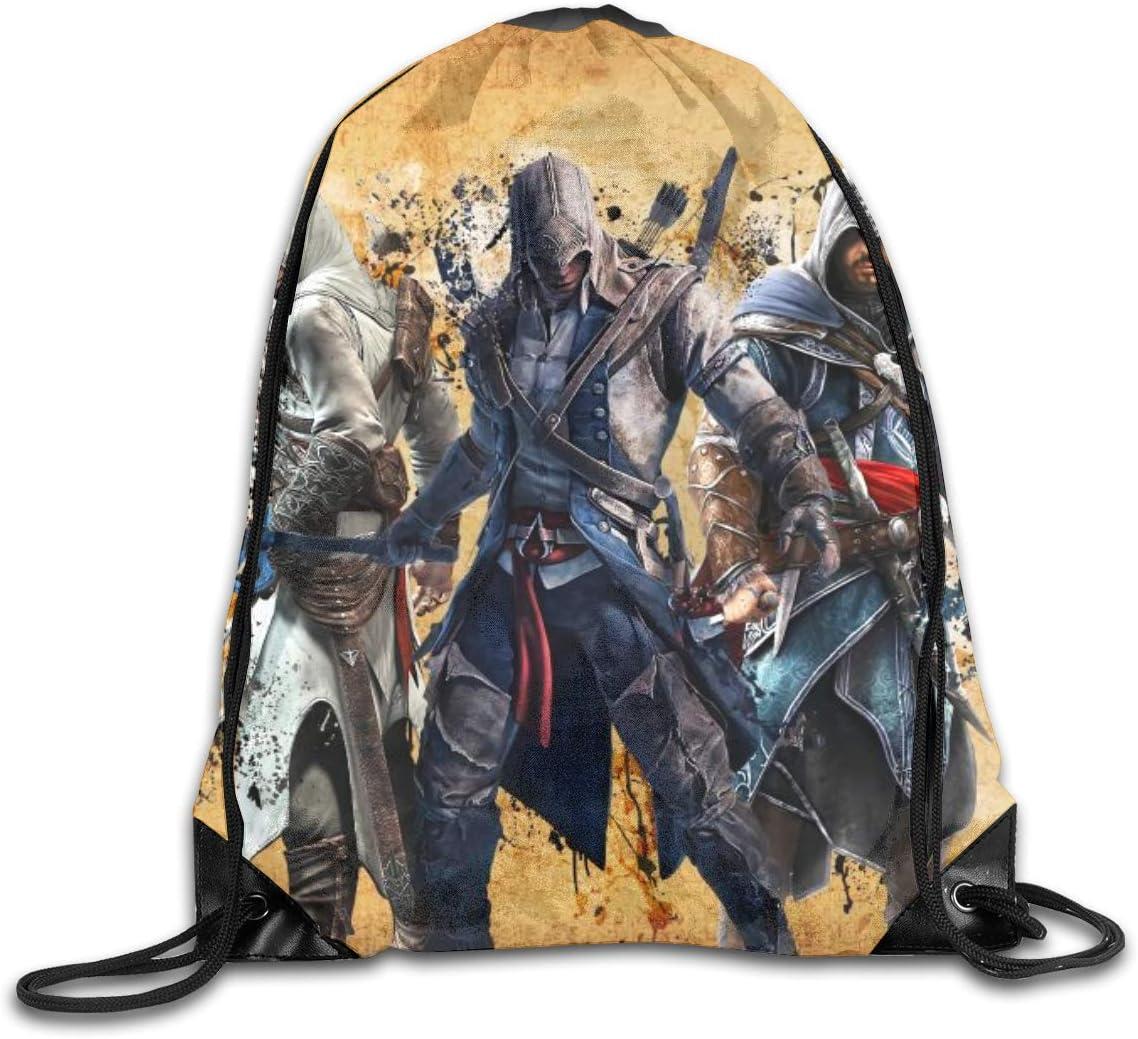 Assassin's Creed Drawstring Backpack Shoulder Bags Sport Foldable Adjustable Drawstring Travel Laptop Durable Backpack Boys Girls Daypacks School Bags Storage Bag